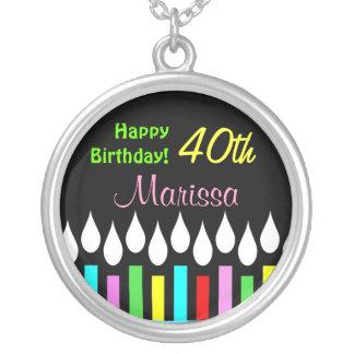 Happy Birthday Candles - Ladies Round Pendant