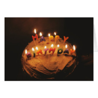 Happy Birthday Candles on Cake - Card