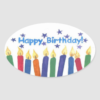 Happy Birthday Candles Oval Sticker