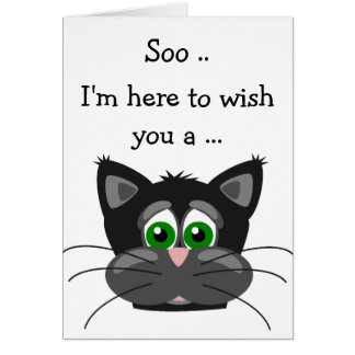Happy Birthday Card: Black and grey Kitten Card
