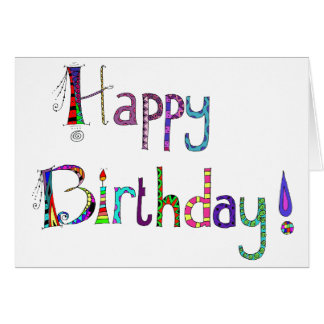 Happy Birthday Card Colorful Lettered Design