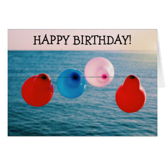 Happy Birthday Card: Four Balloons on a shore Card