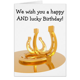 Happy Birthday Card: Golden Horseshoes Card