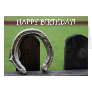 Happy Birthday Card: Horseshoe on a Fence Card