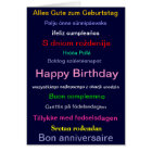 Happy birthday card in different languages