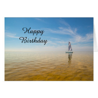 Happy Birthday Card Sailboard  Themed