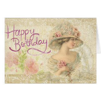 Happy Birthday card Vintage Edwardian Lady Romance