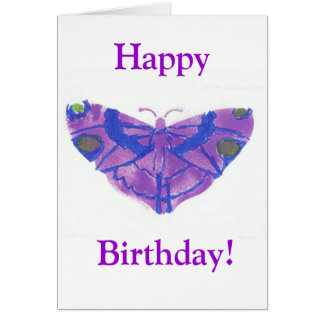 """Happy Birthday"" card w/purple butterfy"
