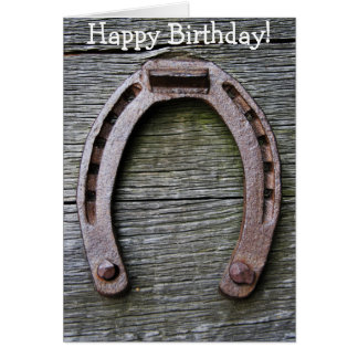 Happy Birthday Card with Horseshoe on Wood