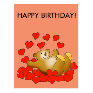 Happy Birthday card with love hearts and a bear Postcard