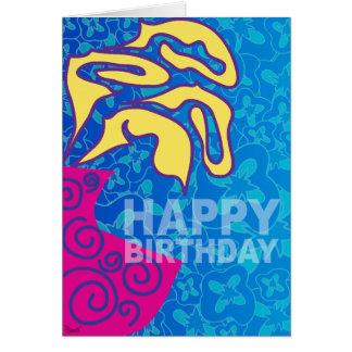 Happy Birthday Card Yellow Leaves Pink Vase