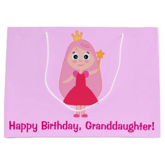Happy Birthday Cartoon Princess Granddaughter Large Gift Bag