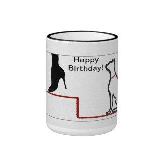 Happy Birthday Cat Ringer Mug