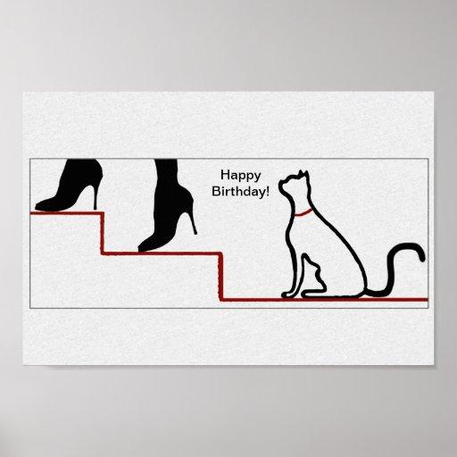 Happy Birthday Cat Print