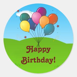 Happy Birthday! Celebration Balloons Round Sticker
