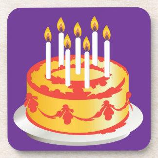 Happy Birthday! Celebration Yellow Birthday cake Coasters