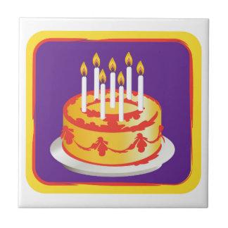 Happy Birthday! Celebration Yellow Birthday cake Small Square Tile