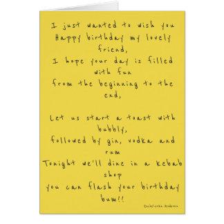 Happy birthday cheeky poem card