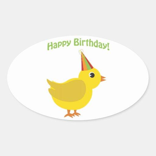 Happy Birthday! chick Oval Stickers