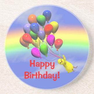 Happy Birthday Chicken and Balloons Coaster