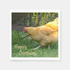 Happy Birthday Chicken Napkin Paper Napkin