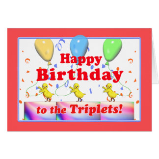 Happy Birthday Chickens for Triplets Card