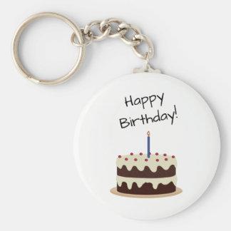 Happy Birthday Chocolate and Vanilla Cake Key Ring