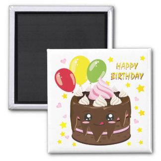 Happy birthday chocolate cake, kawaii magnet
