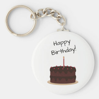 Happy Birthday Chocolate Cake Key Ring