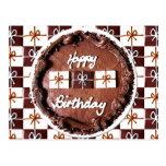 """Happy Birthday"" Chocolate Cake Postcard"