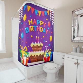 Happy Birthday Chocolate Cake Shower Curtain