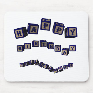 Happy Birthday Christopher toy blocks in blue Mouse Pad