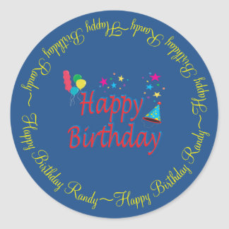Happy Birthday Circular Custom Classic Round Sticker