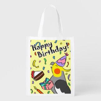 Happy Birthday Cockatiel Reusable Grocery Bag