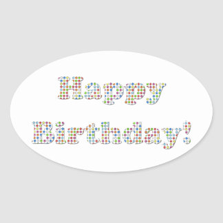 Happy Birthday Colorful Circles Oval Sticker