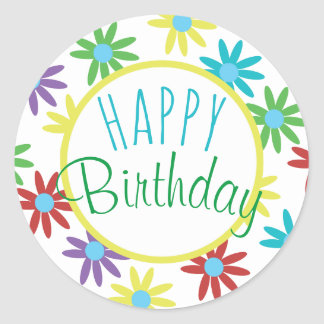Happy Birthday Colorful Floral Illustrated Design Classic Round Sticker