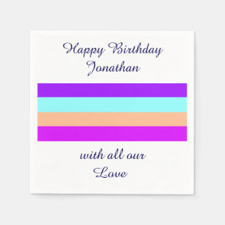 Happy Birthday Colorful Stripes & YOUR OWN NAME Disposable Serviettes