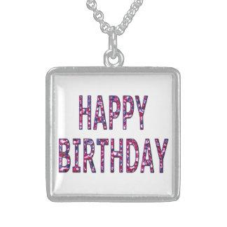 Happy Birthday Coloured Chrome Square Pendant Necklace