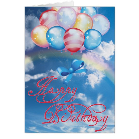 Happy birthday colourful balloons card