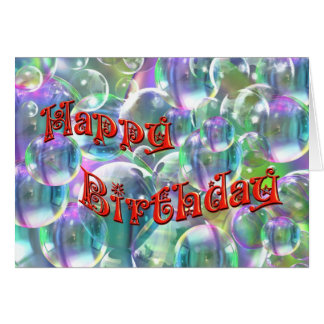 Happy Birthday Colourful Bubbles Greeting Cards