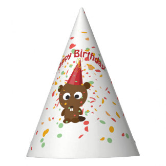 Happy Birthday Confetti Party Beaver Party Hat