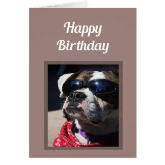 Happy Birthday Cool Dude Fun Boxer Dog Greeting Card