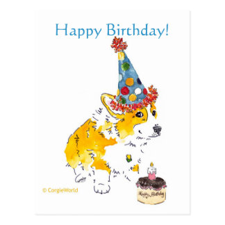 Happy Birthday Corgi Postcard