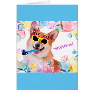 Happy Birthday Corgi with Glasses Card