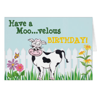 Happy Birthday - Cow & FlowersCustomizable Card
