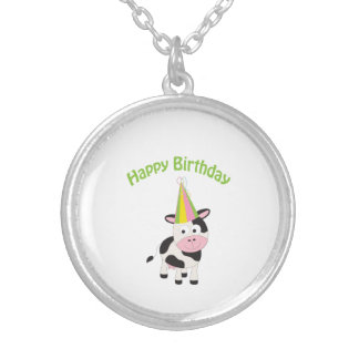 Happy birthday cow personalized necklace