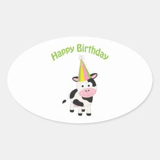 Happy birthday cow sticker