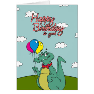 Happy Birthday Crocodile with Balloons Card