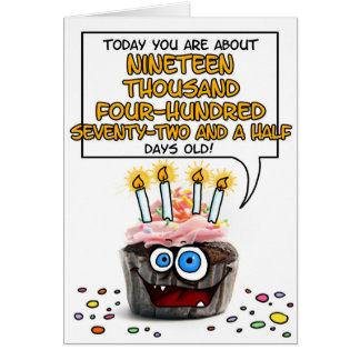 Happy Birthday Cupcake - 53 years old Card