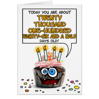 Happy Birthday Cupcake - 55 years old Card